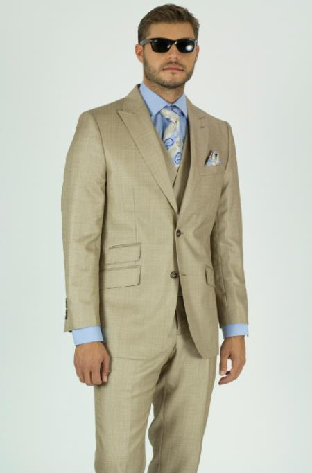 Beige Textured Peak Lapel Double Breasted Suits waistcoat