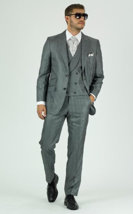 Gray Textured Double Breasted Suits Shawl Lapel Vest