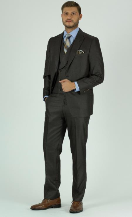 Brown Double Breasted Suits Vest with Shawl Lapel waistcoat