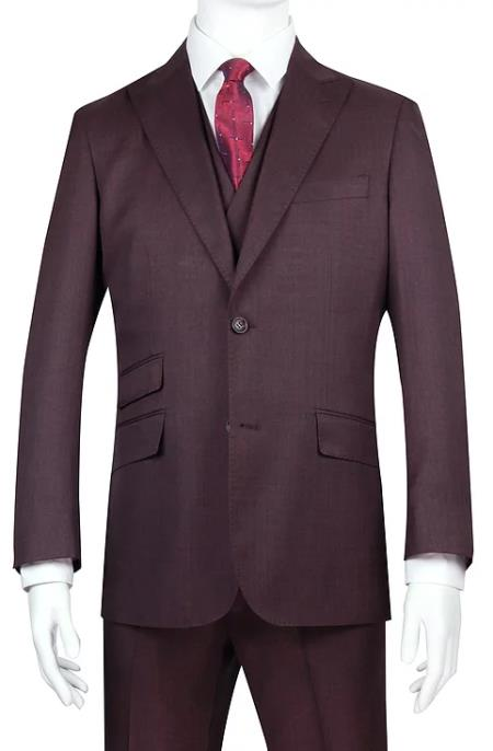 Burgundy One Chest Pocket Double Breasted Suits Shawl Lapel waistcoat