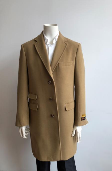 Mens Wool Three Quarter Ticket Pocket Peacoat ~ Carcoat ~ Overcoat With Fur Collar Camel-no fur Long Jacket