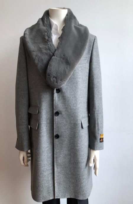 Mens Wool Three Quarter Ticket Pocket Peacoat ~ Carcoat ~ Overcoat With Fur Collar LT Gray Long Jacket