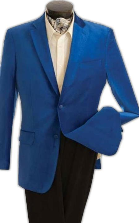 velour Men's blazer Jacket Men's Fashion 2 Button Velvet Jacket Royal Blue