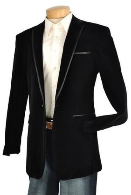 Mens Black Velvet Velour Mens blazer Jacket Trim Lapel Tuxedo Looking!