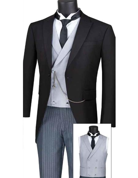 Vinci MTC-1 Modern Fit Men's Tail Style Tuxedo With Striped Pants And Double Breasted Vest
