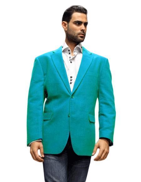 Velour Men's blazer Jacket turquoise ~ Light Blue Stage Party Super 150's Fabric Sport Coat