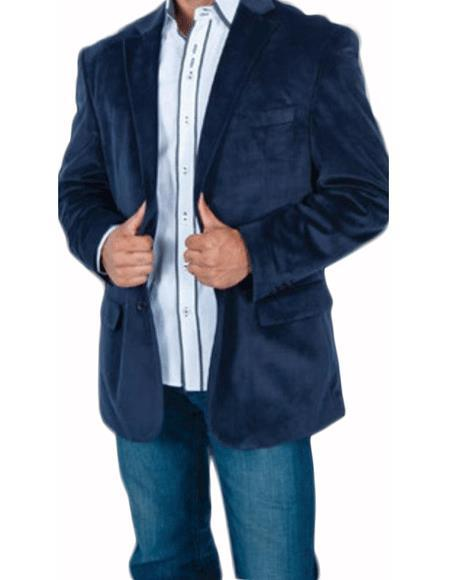 Men's Stylish 2 Button Sport Jacket Navy Blue Discounted Affordable Velvet ~ velour Men's blazer Jacket
