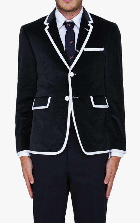 Black Classic velour Mens blazer Jacket