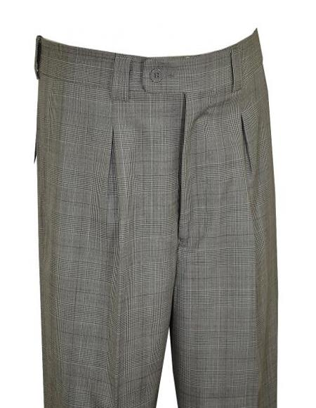 Extrema Grey ~ Black ~ White Plaid Super 150's Wool Pleated Wide Leg Slacks ZS304 Men's Wide Leg Trousers