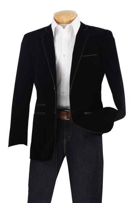 Velour Men's blazer Jacket Men's Luxurious Velvet Slim Sport Coat - Faux Leather Trim Black