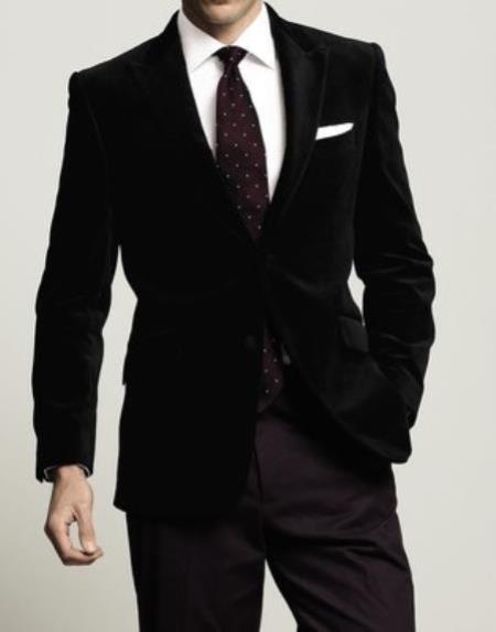 Velour Men's blazer Jacket Men New Luxury 2 Btn Black Velvet Formal Wedding Tuxedo