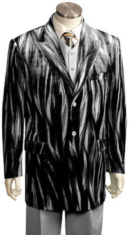Velour Men's blazer Jacket Men's Entertainer Black Silver Velvet Cool Sparkly Zebra Print Suit