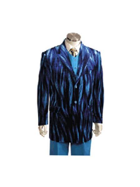Men's Entertainer Blue Velvet Sparkly Cool Zebra Print Suit w Vest Bold Gangester velour Men's blazer Jacket