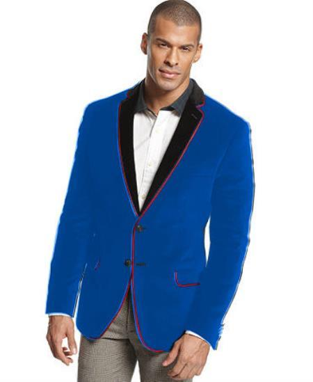 Velour Mens blazer Jacket Velvet Formal Tuxedo Sport Coat Two Tone Trimming Notch Collar Royal Blue