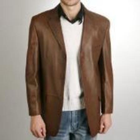 SKU#KK711 Mens Classic Three-Button Lambskin Leather Blazer$499