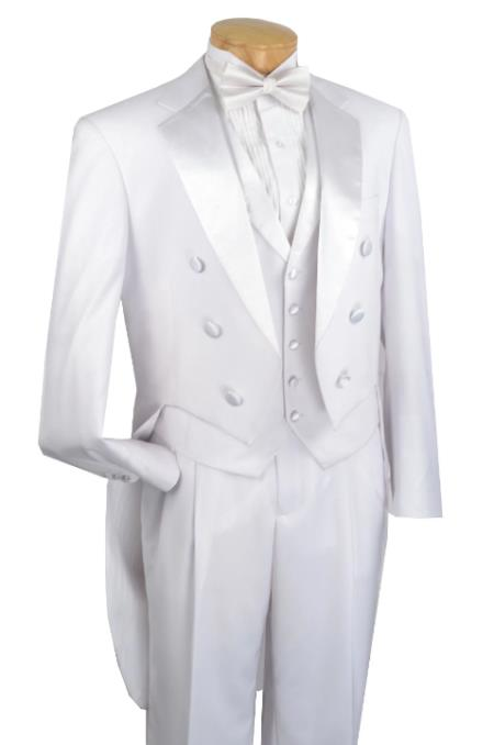 Mens Tailcoat White Tail Tuxedo With Lapelled Vest Available Peak or  Collar