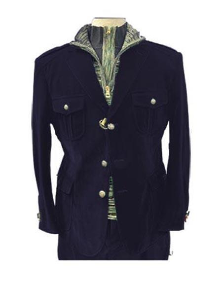 Navy Blue Four Button Two Chest Pocket Casual Velvet Men's blazer for Men's