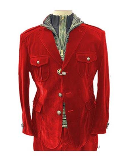 Mens Red 4 Pocket With Brass Buttons Casual Velvet Mens blazer