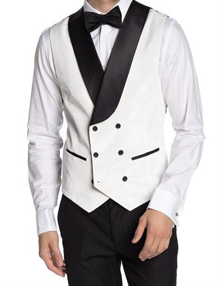 Mens Double Breasted Velvet Vest White