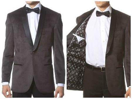 Velour Men's blazer Jacket Men's Grey 1 Button Velvet ~ With Black Lapel Shawl Collar Dinner Jacket Blazer