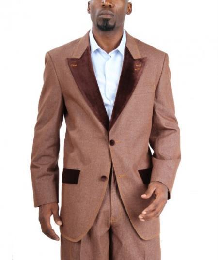 Velour Men's blazer Jacket  Fashion Two Button Cotton Timmed Denim Velvet Lapel Black,Blue,Brow