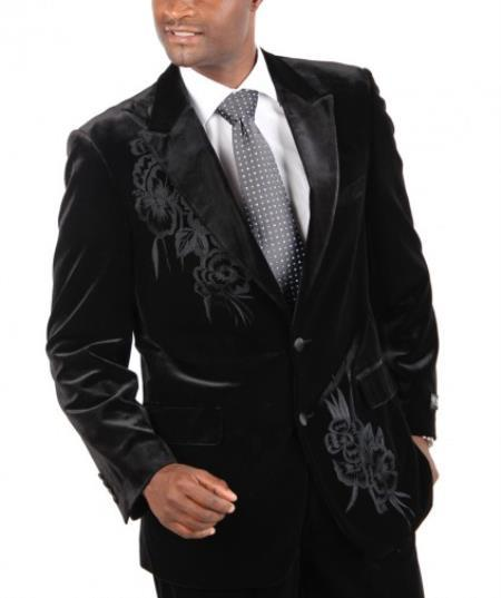 Velour Mens blazer Jack Fashion Two Button Cotton Timmed Velvet Suit with Embroidery Black