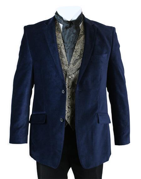 Velour Men's blazer Jacket Velvet Smoking Midnight Blue
