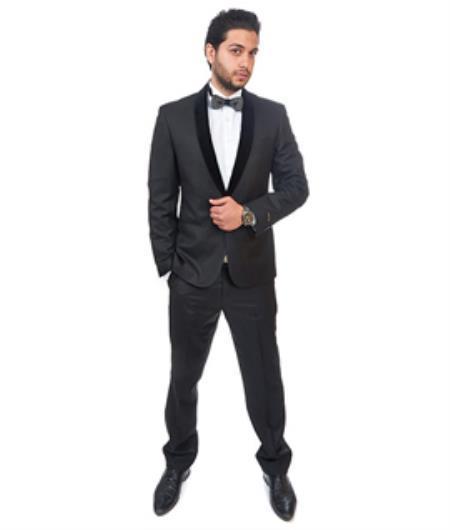 Men's Black Slim Fit Collar Imported Blazer Jacket