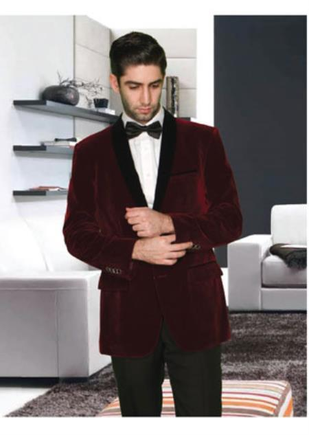Mens 2 Button Modern Fit Shawl Lapel Burgundy ~ Wine ~ Maroon Color velour Mens blazer Jacket