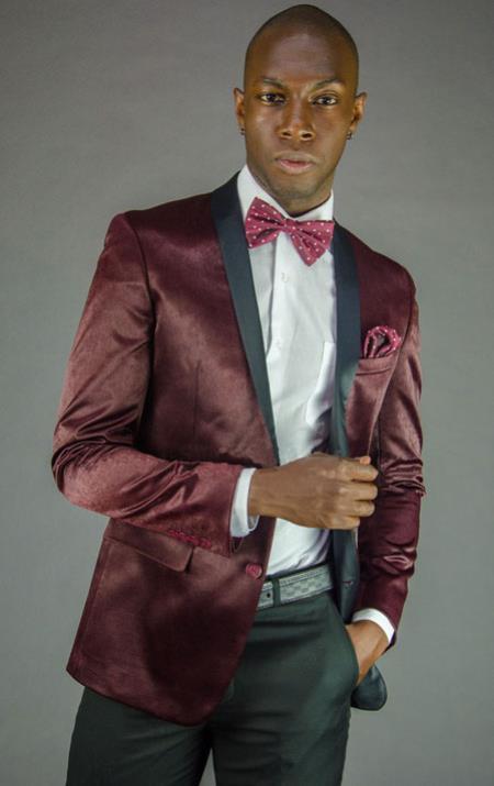 Mens 2 Button Black and Burgundy ~ Wine ~ Maroon Color Velvet Slim Fit Tuxedo Jacket / velour Mens blazer