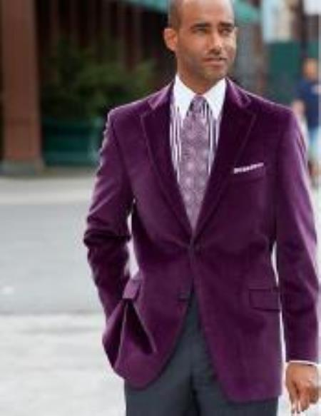 Mens Notch Lapel Two-Button Pure Cotton Velvet Purple Sport Coat velour Mens blazer Jacket