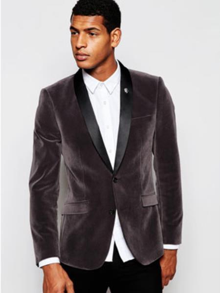 Mens Grey  Gray Velvet Black Lapeled Shawl Collar tuxedo