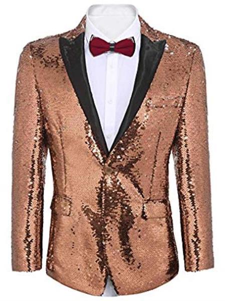 Rose Gold ~ Pinkish Sequin Shiny Men's Blazer