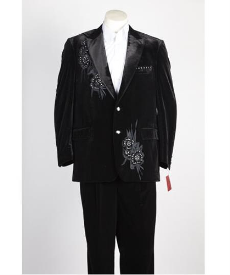 Men's 2 Button Black Velvet Jacket, with floral pattern, Satin Peak Lapel, and Black Dress Pants velo