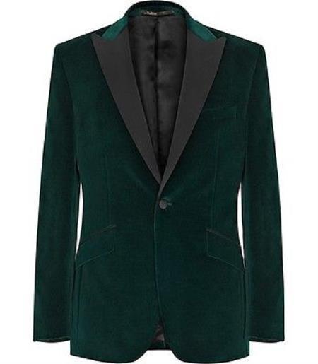 Men Olive Green Stylish Tuxedo Sports velour Mens blazer Jackets Coat Velvet Fabric black Lapel