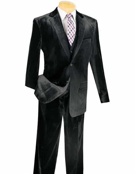 Men's  3 Piece Black Velvet Vested velour Men's blazer Jacket Suits