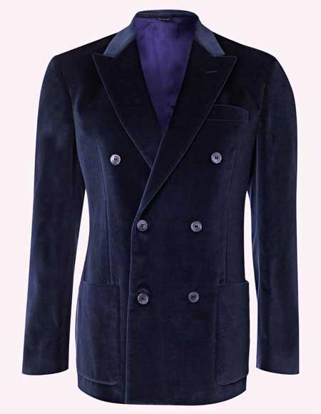 Men s Velvet Dark Navy Blue Suit For Men