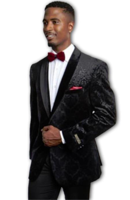 Men's Fashion Patterned Holiday crushed Black Paisley Texture velour Men's blazer Jacket ~ Velvet Sp