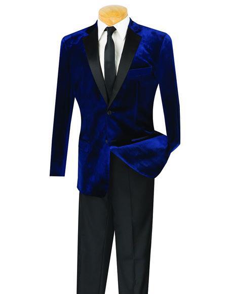 Men's Navy 2 Button Velvet Tuxedo Jacket
