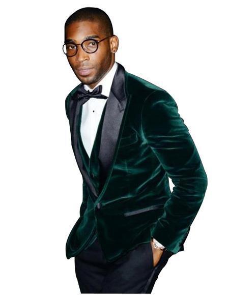 Olive Velvet Tuxedo velour Men's blazer Jacket