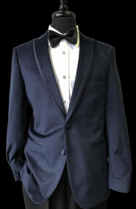 Mens 2 Buttons Black Trimmed Lapel Velvet Navy Blue Tuxedo velour Mens blazer Jacket