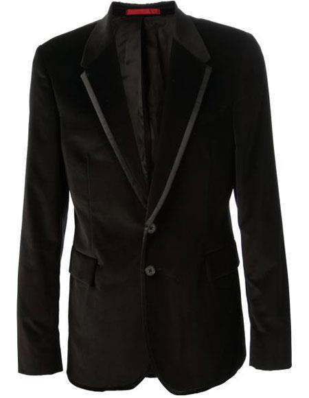 Alberto Nardoni Brand Men's Black Velvet velour Men's blazer Jacket & Black Trim Lapel Tuxedo