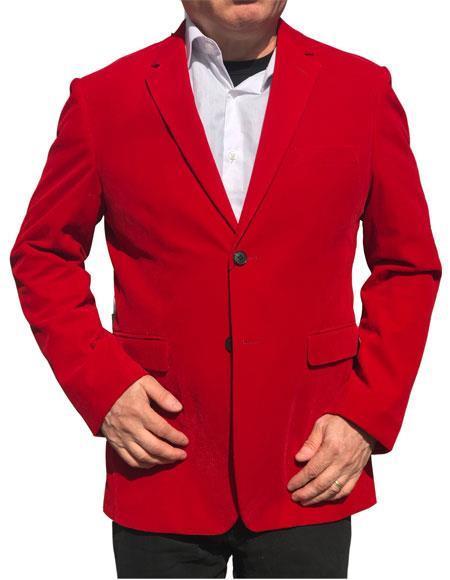 Alberto Nardoni Brand Red Velvet ~ velour Mens blazer Jacket Cheap Priced For Men ~ Sport Coat Jacket