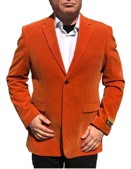 Alberto Nardoni Brand Orange Velvet ~ velour Mens blazer Jacket~ Sport Coat Jacket Available Big Sizes