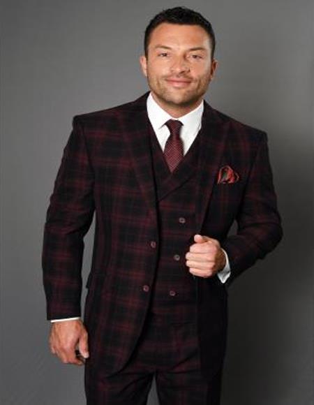 Men's 3 Piece 100% Wool Fashion Suit - Timeless Plaid