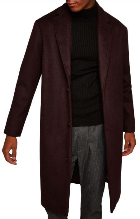 Mens Burgundy ~ Wine ~ Maroon Overcoats