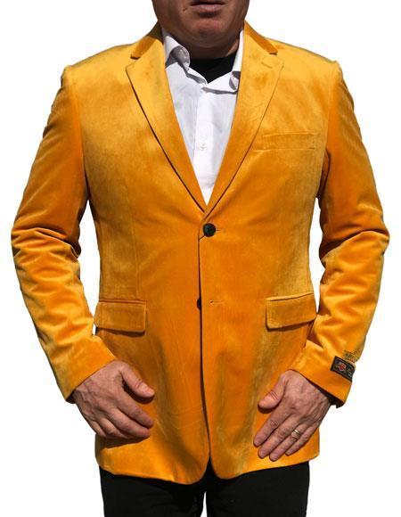 Alberto Nardoni Brand Gold ~ Mustard ~ Yellow Velvet velour Men's blazer Jacket Jacket Available Big Sizes