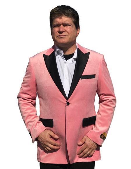 Alberto Nardoni Brand Ligth Pink Velvet Tuxedo velour Men's blazer Jacket Available Big Sizes