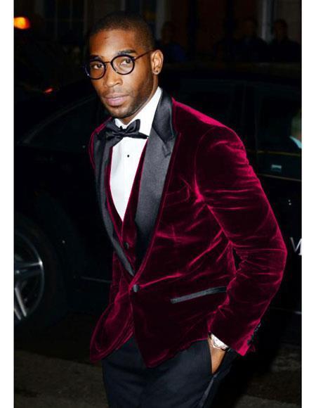 Men's Burgundy Velvet ~ Crushed Velour Tuxedo velour Men's blazer Jacket ~ Sport coat