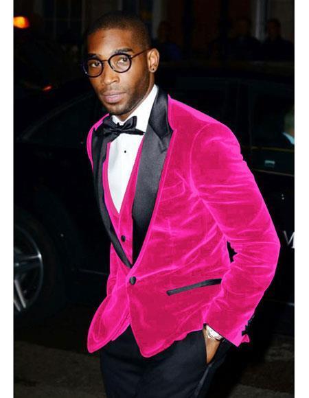Men's Pink Fuchsia Wedding Prom Best Fashio Suits